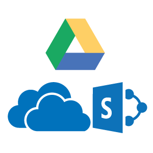 Connects directly to cloud services such as: Google Drive, One Drive or SharePoint with single sign-in